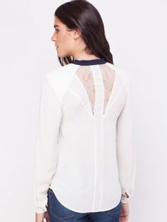 WAREHOUSE Lace Insert Contrast Shirt from KOOVS.COM