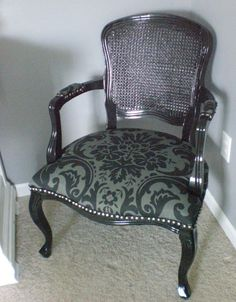 Glossy Black French Provençale Armchair with caning back, Damask seat and silver tacks. Classy!