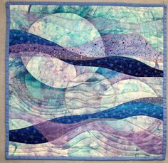 """Night Sky"" by Barbara at Too Wild Quilters: layered, fused, painted and beaded"