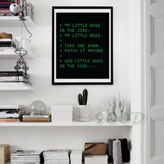 nerdy office decor. Delighful Nerdy Printable 99 Little Bugs In The Code Art For Geeks Digital Download Office  Gallery Wall Funny Nerd Quote Computers Programmers QA Intended Nerdy Decor