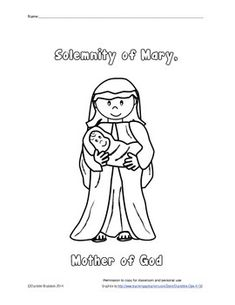 Free Coloring Page Of Mary Mother God Which Is Celebrated In January Great For Young Children A Catholic School Or Parish Religion