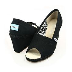 Toms Womens Wedges Shoes Black