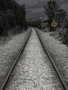 Black and white, lightly colored photography of railroad track. Railroad Tracks, Ireland, Black And White, Photography, Photograph, Black N White, Black White, Fotografie, Photoshoot