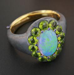 Opal, Peridot, Blue Sapphire, Silver and 18K Rose Gold Bracelet by James de Givenchy #Taffin #JamesdeGivenchy #Bracelet