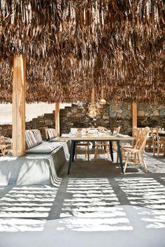 Alemàgou-Bar-Restaurant-Mykonos-reed-thatch-canopy-pumpkin-gourd-lighting-K-Studio