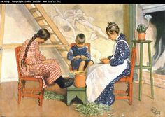 Carl Larsson Shelling Peas Watercolor