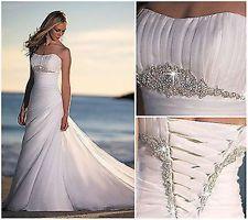 New Beach White/Ivory bead Wedding Dress Bridal Gown Custom Size 6 8 10 12 14 ++