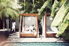 Poolside lounging beds