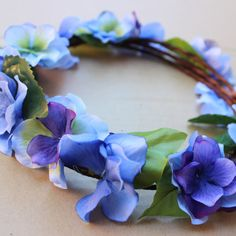 Blue and purple floral crown by BloomsNBugs on Etsy, $20.00