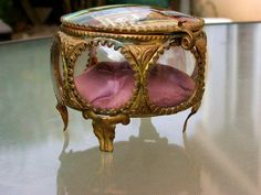 french antique1900s jewelry box BEVELED GLASS  by antiquefrance, $139.00