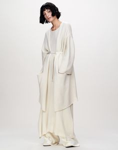 Contemporary Fashion - long dress & jacket; soft white tailoring // Ryan Roche Fall 2016