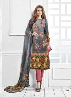 Grey Wholesale Straight Salwar Kameez In Pashmina Fabric