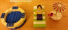LEGO Custom Furniture - Pool Hot Tub with Lounge Beach Chair, Umbrella, Cup Lime Green #LEGO #LEGOFurniture #LEGOPool