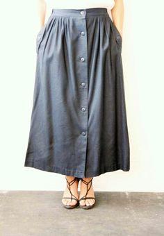 Darkest Blue Silk Button Skirt by weltenbuerger on Etsy, $62.00