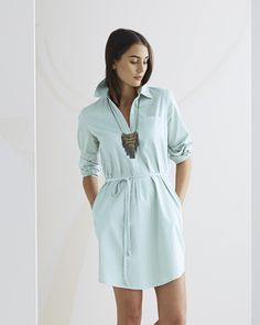 Go chic and refined or laid-back bohemian with our relaxed popover dress. Washed ever so slightly for that perfectly worn yet casually polished effect, it's the amalgamation of everything a woman wants to wear on the weekend. The cinched drawstring waist hits perfectly and flatters all, making it an instant office favorite.