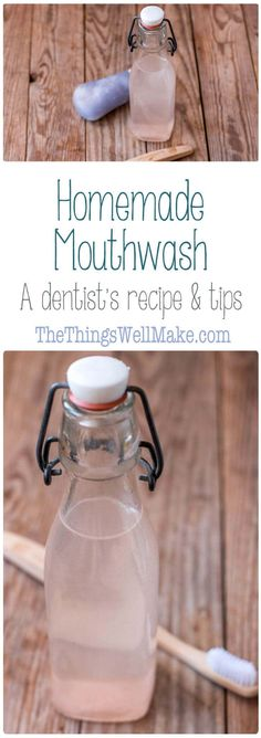 Refresh, cleanse, and heal with this natural, homemade mouthwash that is alcohol free, inexpensive, and easy to make yourself! (A dentist's recipe and tips!) #DIY #mouthwash #natural  via @thethingswellmake