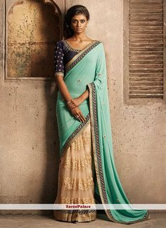 Beige And Turquoise Net And Georgette Half N Half Saree