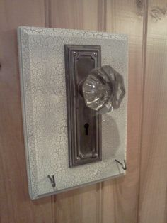 Key holder I made using an old glass door knob.  Love it.