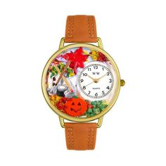 Whimsical Watches Autumn Leaves Tan Leather And Goldtone Watch (1362-G-1213001)