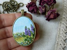 Embroidered necklace Landscape pendant wildflower