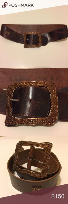 "B.B. Simon Western Swarovski Crystal Leather Belt Only worn twice. Shows only minimal signs of use. All stones in tact. 38"" long. 2.5"" wide. B.B. Simon Accessories Belts"