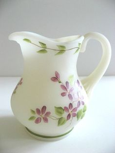 Fenton Milk White Satin Glass Pitcher with Hand Painted Flowers