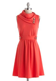 Coach Tour Dress in Raspberry - Mid-length, Coral, Solid, Buttons, Pockets, Casual, A-line, Sleeveless, Cowl, Mod