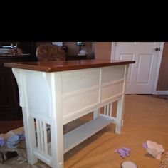 This is the credenza with the clear wax over old white Annie Sloan paint. We'll add the dark in 3 days.