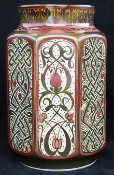 Pilkington's Lustre Vase decorated with Celtic strapwork and stylised flowers by William Mycock
