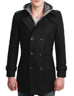 Doublju Mens Casual Breasted Wool Jacket BLACK....