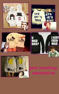 If those boys are those One Direction kids then eww but I like the sweatshirts 1d Preferences, One Direction Preferences, 1d Imagines, Harry Styles Imagines, One Direction Images, 1d And 5sos, Matching Couples, My Life, Sweatshirts