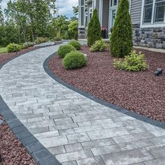 Looking for a way to spruce up your curb appeal? A stone walkway creates a safe. Looking for a way to spruce up your curb appeal? A stone walkway creates a safe. Outdoor Walkway, Front Walkway, Front Door Entrance, Front Yard Landscaping, Wood Walkway, Landscaping Design, Landscape Design Plans, Landscape Edging, House Landscape
