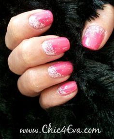 Pink Bikini Glitter Fade Nails