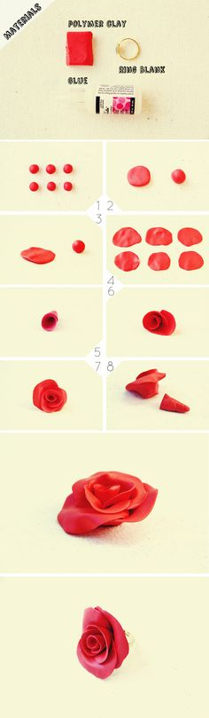 DIY Rose Ring-Interesting Polymer Clay DIY Projects