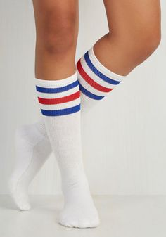 Back On Track Star Socks in Red and Blue - White, Red, Blue, Casual, Scholastic/Collegiate, Variation, Beach/Resort