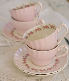 pink tea cups and saucers Vintage Dishes, Vintage China, Vintage Teacups, Tea Cup Saucer, Tea Cups, Cuppa Tea, Teapots And Cups, My Cup Of Tea, Shabby Vintage