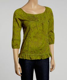 Love this Aryeh Moss & Purple Floral Three-Quarter Sleeve Top by Aryeh on #zulily! #zulilyfinds