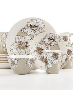 Pfaltzgraff Everyday Dinnerware, Alexa Taupe 16-Piece Set - Casual Dinnerware - Dining & Entertaining - Macy's