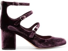 EXCLUSIVE AT NET-A-PORTER.COM. Sam Edelman's 'Calista' pumps are the chicest way to channel this season's eclectic, retro mood. Flawlessly crafted from lustrous grape velvet, this block-heeled pair is defined by a trio of buckled straps that frame and flatter your foot. Wear them with dresses or cropped denim.