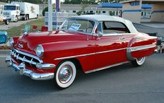 1954 Chevrolet Bel Air Convertible From the website link on the photo you can view classic Chevrolet cars and parts for sale in seven different countries and see basic specifications of all & models as seen in the pics Old American Cars, American Classic Cars, Old Classic Cars, Classic Chevrolet, Chevrolet Bel Air, Auto Retro, Retro Cars, 3008 Peugeot, Peugeot 206
