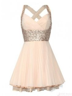 Gorgeous A-line Sweetheart Knee-length Sequin Chiffon Homecoming Dress #SIMIBridal #homecomingdresses