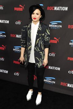 Demi Lovato in Barbara Bui at the Roc Nation Pre-Grammy Brunch. [Photo by Amy Graves]