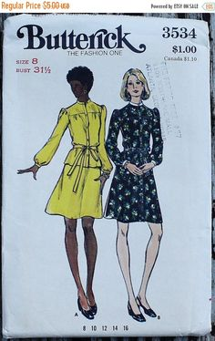 50% Summer Sale Butterick 3534  1970s 70s by EleanorMeriwether