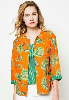 Indonesian Batik, Bright orange color combined with green polka