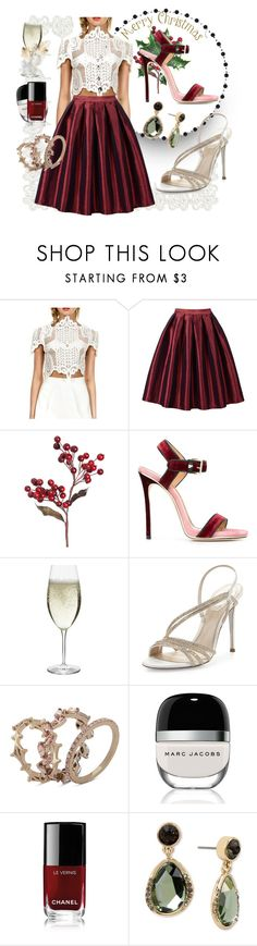 """""""Merry Christmas"""" by lisastarflower ❤ liked on Polyvore featuring WithChic, Dsquared2, Schott Zwiesel, René Caovilla, Jenny Packham, Marc Jacobs, Chanel, Kenneth Cole, Christmas and party"""
