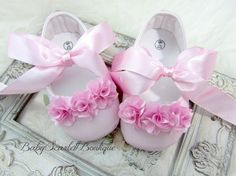 Pink Satin Baby Girl ShoesSoft Sole by babyScarlettBoutique, $15.99