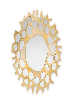 In Greek Mythology, Helios was the personification of the Sun. It is said that each dawn, he rose from the far ends of the earth with the shining aureole of the Sun. This inspired the creation of HELIOS Mirror. With a finish in golden leaf, this decorative mirror will bring a charming touch to a blank wall.  #entrywaydesign #hallwaysdesign #contemporaryentryways #modernentryways #classicentryways #mid-centuryentrywyas #eclecticentryways