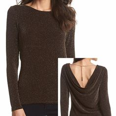 MICHAEL MK Chocolate Cowlback Top-NWT-Make Offer Look classy with a hint of a sparkle in this Michael Kors Cowlback Top.  •Featured in black / silver  •Long sleeves  •Cowl back  •Allover metallic pattern  •Nylon / elastane / metallic MICHAEL Michael Kors Tops
