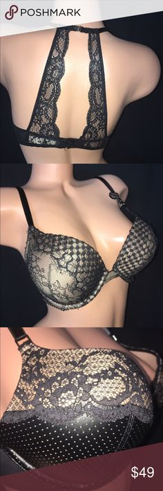 NWT Victoria's Secret Bombshell Plunge NEW VS Bombshell Plunge 32D. LEATHER  & LACE!!! This beauty is RARE !! It's hot, it's sexy and it's stunning from ever angle. The leather (vinyl) and lace combo is amazing with a peekaboo back. Gorgeous!! Victoria's Secret Intimates & Sleepwear Bras