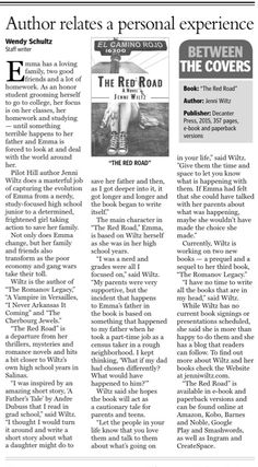 """The Red Road was featured in the Mountain Democrat! Wendy Schultz wrote a fantastic story for its release. She liked the book a lot and even called it """"masterful""""! Honor Student, The Book, High School, Writer, Mountain, Author, Face, Books, Red"""